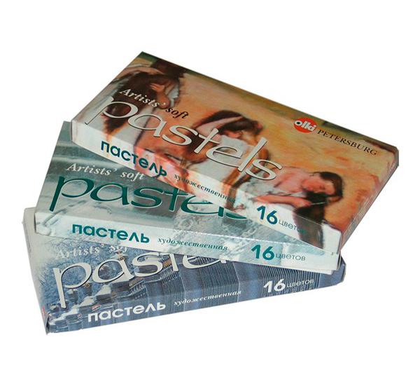 Купить Набор сухой пастели Olki №19 16 цв (телесно-коричневые тона, зеленый, синий, черный, белый), Россия
