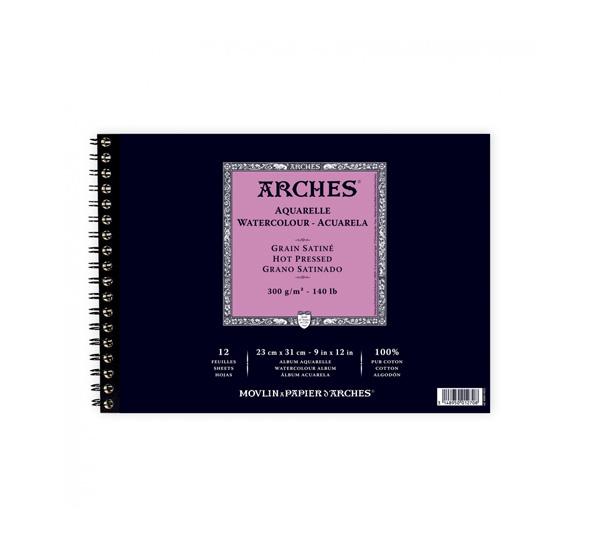 Купить Альбом для акварели на спирали Canson Arches Satin 23x31 см 12 л 300 г, Франция