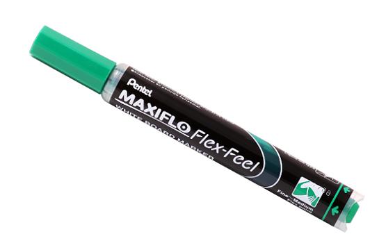 Купить Маркер для досок с жидкими чернилами и кнопкой подкачки чернил Pentel Maxiflo 1-5 мм, зеленый, Япония