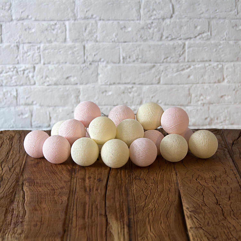 Купить Гирлянда из хлопковых шариков Lares & Penates зефирки 20, от батареек, Lares & Penates