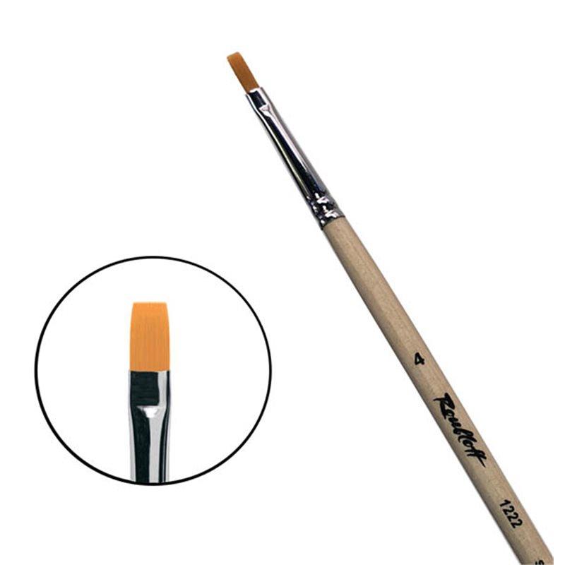 Купить Кисть синтетика №4 плоская Roubloff 1222 длинная ручка п/лак, Россия