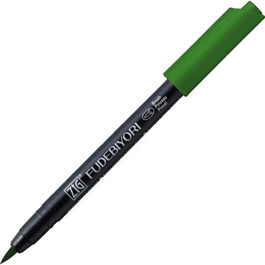 Купить Ручка на водной основе, перо кисть ZIG Kuretake Fudebiyori Глубокий зеленый, Япония