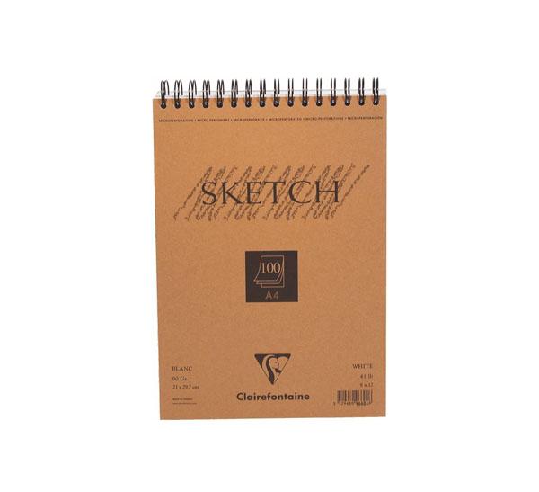 Купить Блокнот для эскизов на спирали Clairefontaine Sketch А4 100 л 90 г, с микроперфорацией, Франция