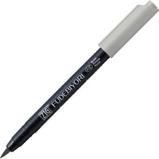 Купить Ручка на водной основе, перо кисть ZIG Kuretake Fudebiyori Светло серый, Япония