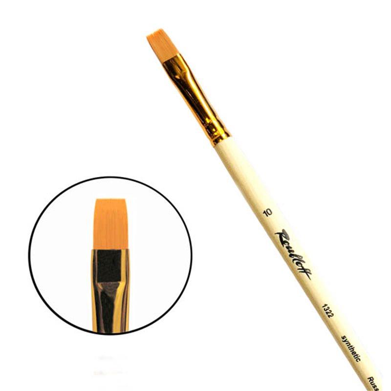 Купить Кисть синтетика №10 плоская Roubloff 1322 длинная ручка п/лак, Россия