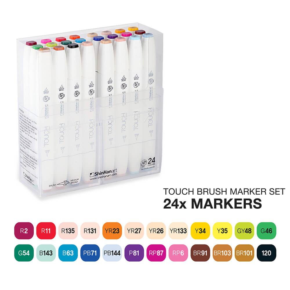 Купить Набор маркеров Touch Twin BRUSH 24 цв, основный тона, ShinHan Art (Touch), Южная Корея
