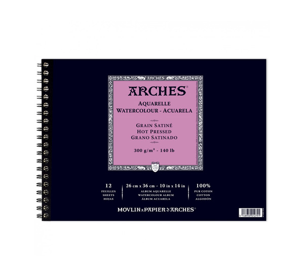 Купить Альбом для акварели на спирали Canson Arches Satin 26x36 см 12 л 300 г, Франция