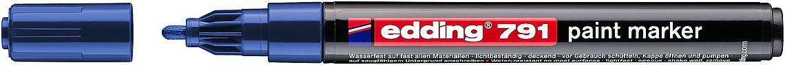 Купить Маркер декоративный Edding 791 с лакирующим эффектом, 1-2 мм с круглым наконечником, синий, Германия