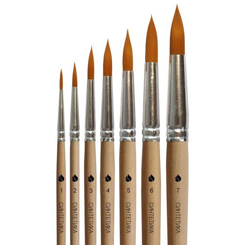 Купить Кисть синтетика №6 круглая ЦТИ длинная ручка, Россия