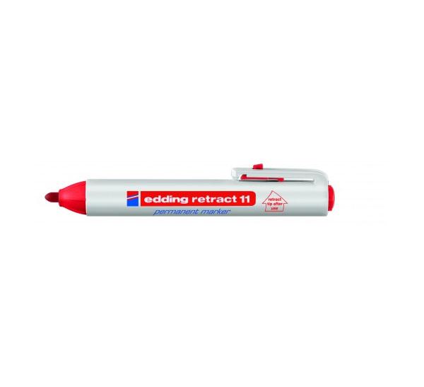 Купить Маркер перманентный Edding 11 1, 5-3 мм с круглым наконечником, с кнопкой, красный, Германия