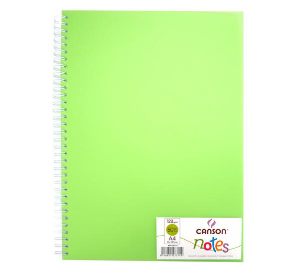 Купить Блокнот для графики на спирали Canson Notes А4 50 л 120 г, обложка пластик. зеленая, Франция