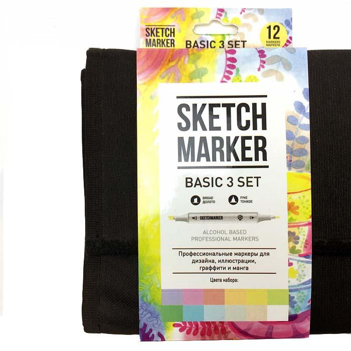 Купить Набор маркеров Sketchmarker Basic 3 set 12 Базовые оттенки сет 3 (12 маркеров + сумка органайзер), Япония