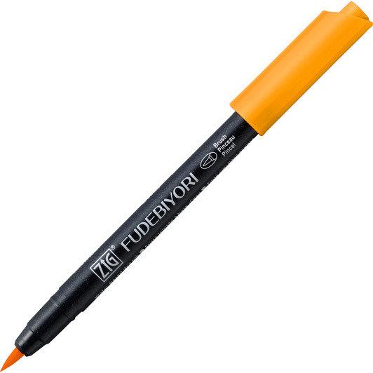 Купить Ручка на водной основе, перо кисть ZIG Kuretake Fudebiyori Яркий желтый, Япония