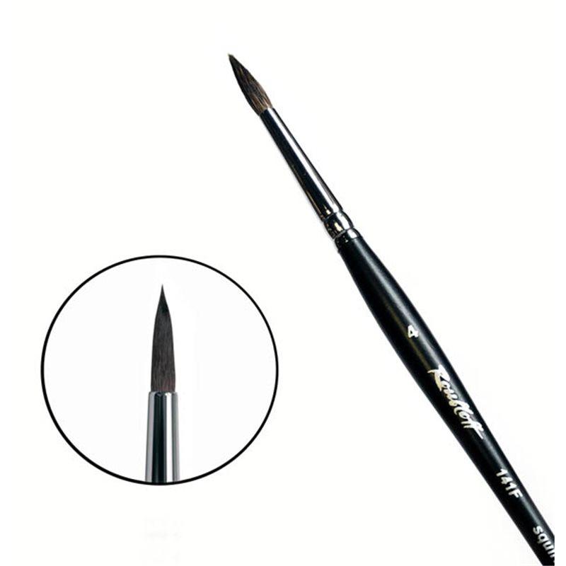 Купить Кисть белка №4 круглая Roubloff 141F короткая ручка, матовая, Россия