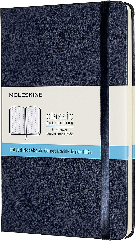 Записная книжка пунктир Moleskine Classic Medium 115х180 мм 240 стр. твердая обложка синяя.