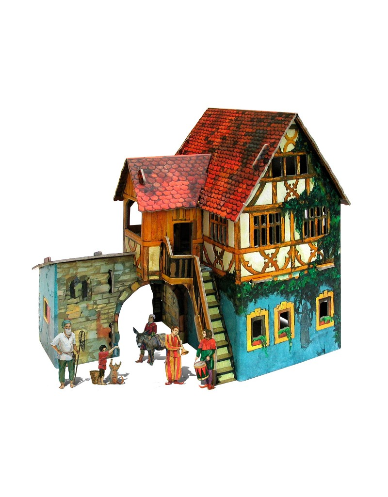 Купить Игровой набор из картона Средневековый город Дом с кораблем , Умная бумага, Россия