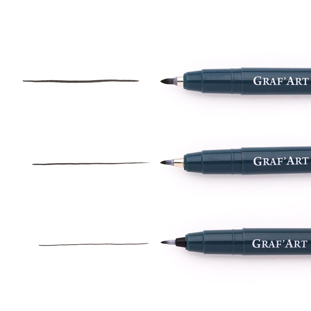 Купить Ручка капиллярная Малевичъ Graf'Art пуля, разная толщина наконечника, Россия