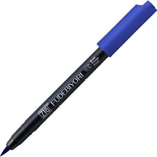 Купить Ручка на водной основе, перо кисть ZIG Kuretake Fudebiyori Синий, Япония