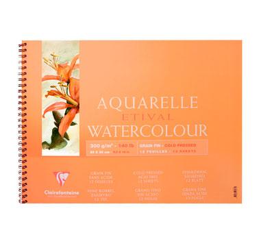 Купить Альбом для акварели на спирали Clairefontaine Etival Fin 24*30 см 12 л 300 г, Франция