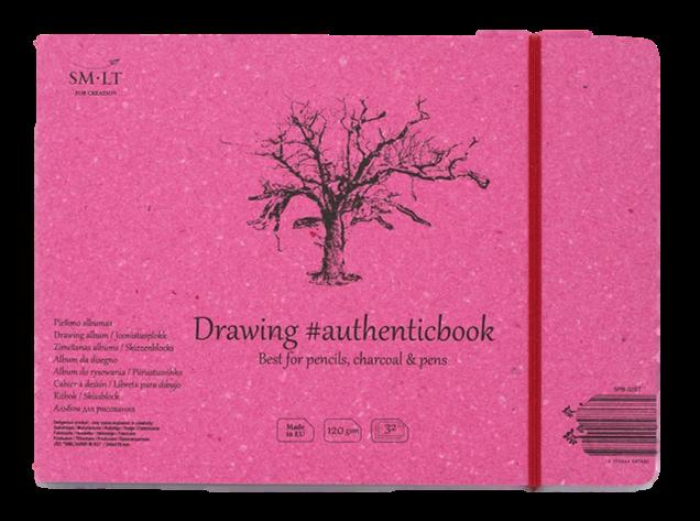 Купить Скетчбук Smiltainis Drawing #authenticbook (белый) с резинкой 24, 5x17, 6 см 32 л 120 г, Литва