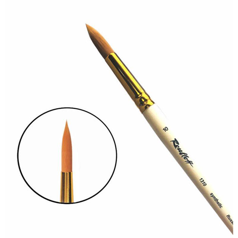 Купить Кисть синтетика №10 круглая Roubloff 1310 короткая ручка п/лак, Россия