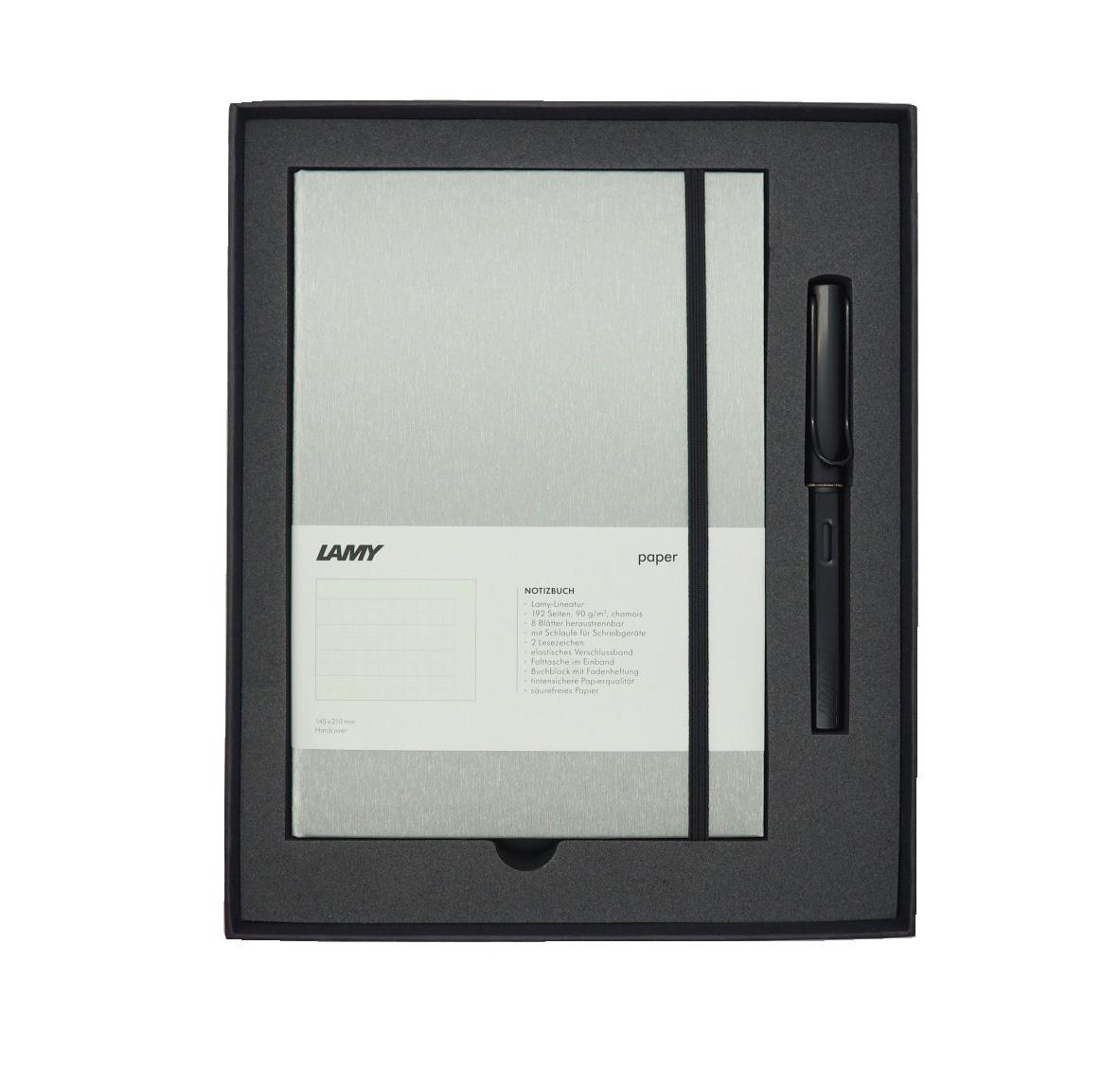 Купить Набор ручка перьевая LAMY Al-star, F, Черный+Записная книжка, твердый переплет, А5, черный, Германия