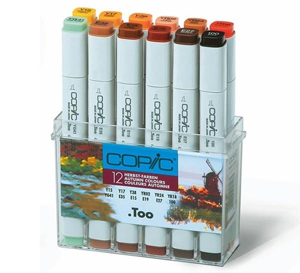 Купить Набор маркеров Copic 12 шт Осень теплых оттенков, в пластике, Copic Too (Izumiya Co Inc), Япония