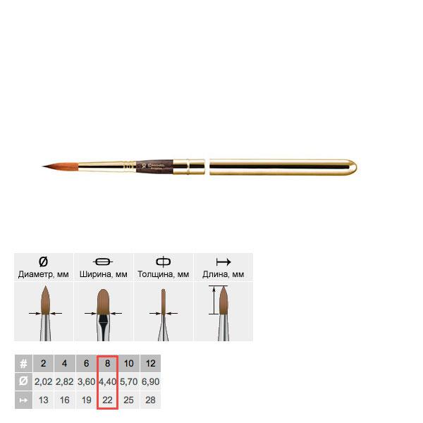 Купить Кисть колонок №8 круглая Escoda Reserva 1214 Tajmyr ручка съёмная металлическая, Испания