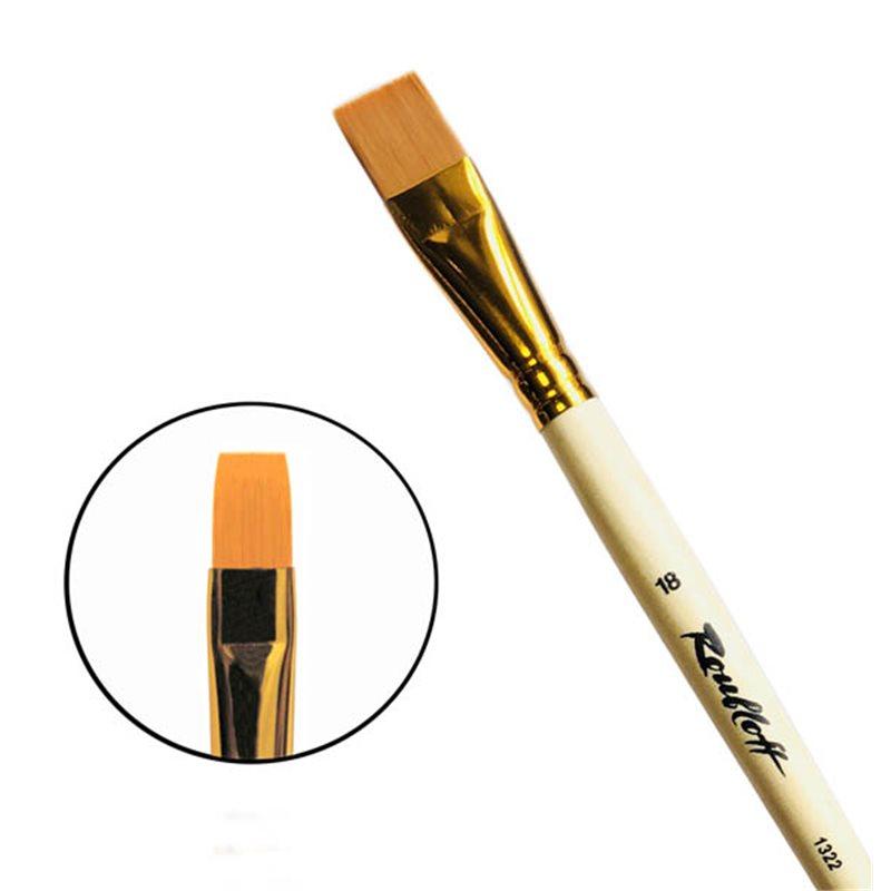 Купить Кисть синтетика №18 плоская Roubloff 1322 длинная ручка п/лак, Россия