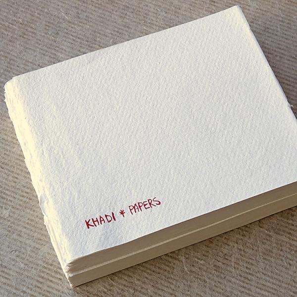 Купить Блок сшитый для акварели KHADI PAPERS 13х16 см 40 л 210 г 100% хлопок, крупнозернистая, без обложки, Индия