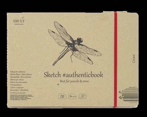 Купить Скетчбук Smiltainis Cream #authenticbook (кремовый) с резинкой 24, 5x17, 6 см 36 л 80 г, Литва