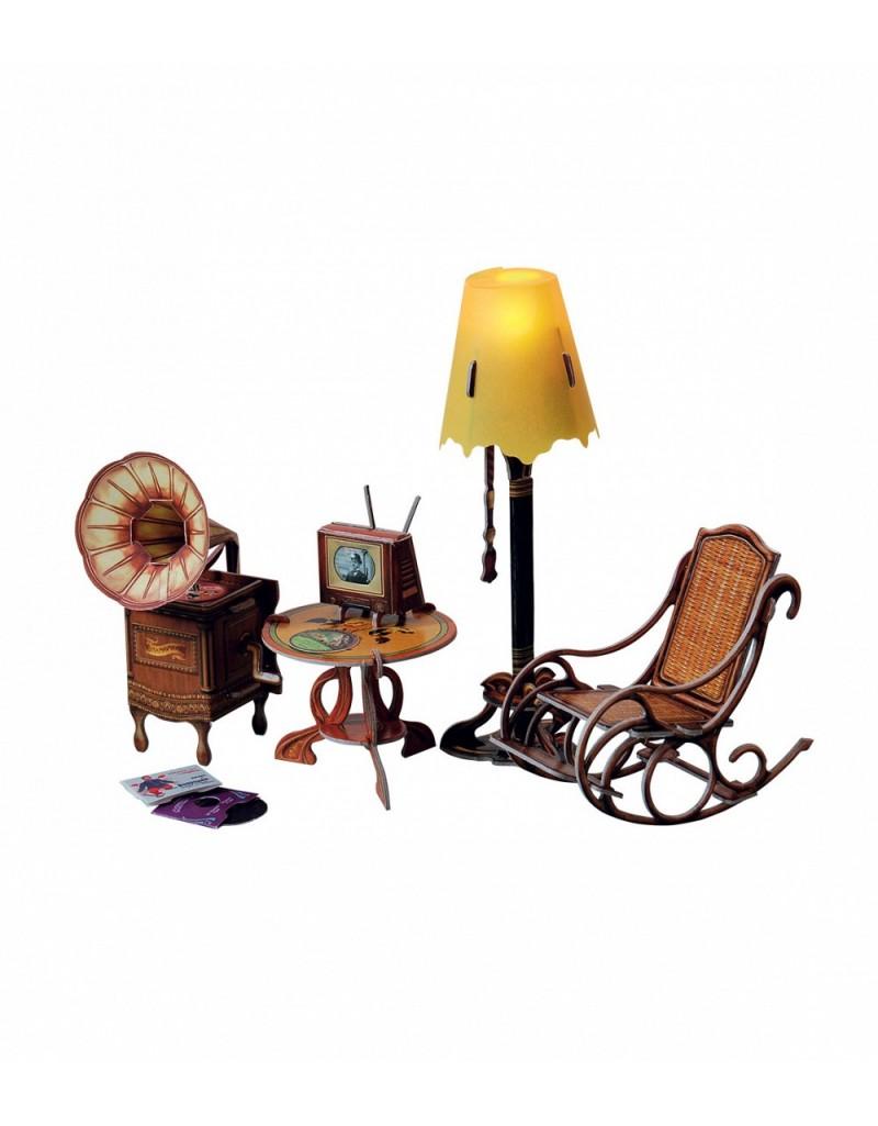 """Объемный пазл, коллекционный набор мебели """"Торшер и обстановка"""""""