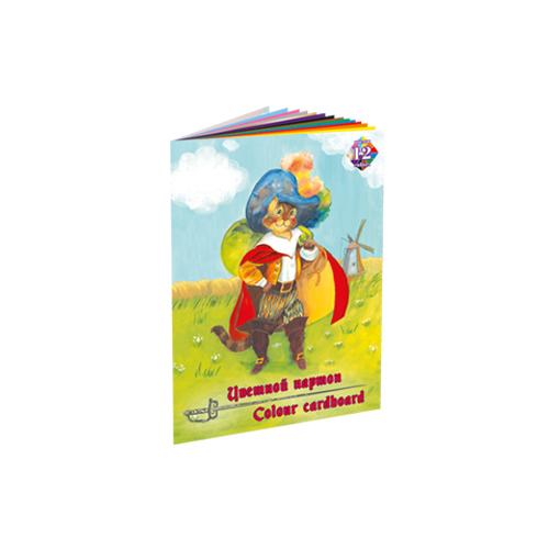 Купить Набор для детского творчества из цветного мелованного картона Кот в сапогах , формат А4, 12 цв, 12 л, Лилия Холдинг, Россия