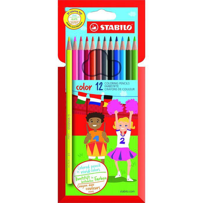 Купить Набор карандашей цветных Stabilo Swano Color 12 цв (10+2 флуо) в карт кор, Германия