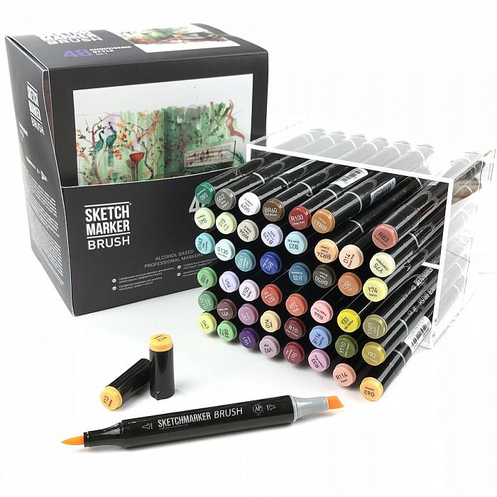 Купить Набор маркеров Sketchmarker Brush 48 Chinoiserie style- Шинуазри (48 маркеров в пластиковом кейсе), Япония