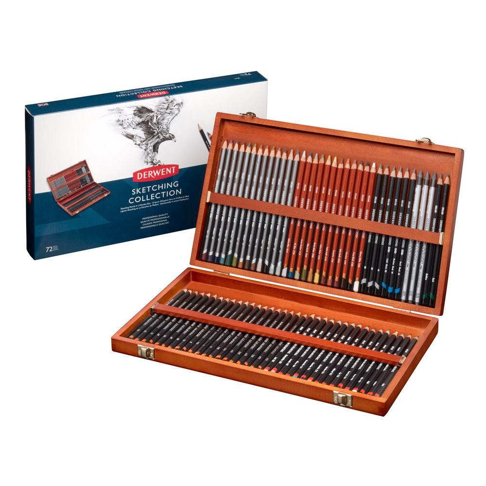 Купить Набор карандашей чернографитных Derwent Sketching 72 шт в деревянной коробке