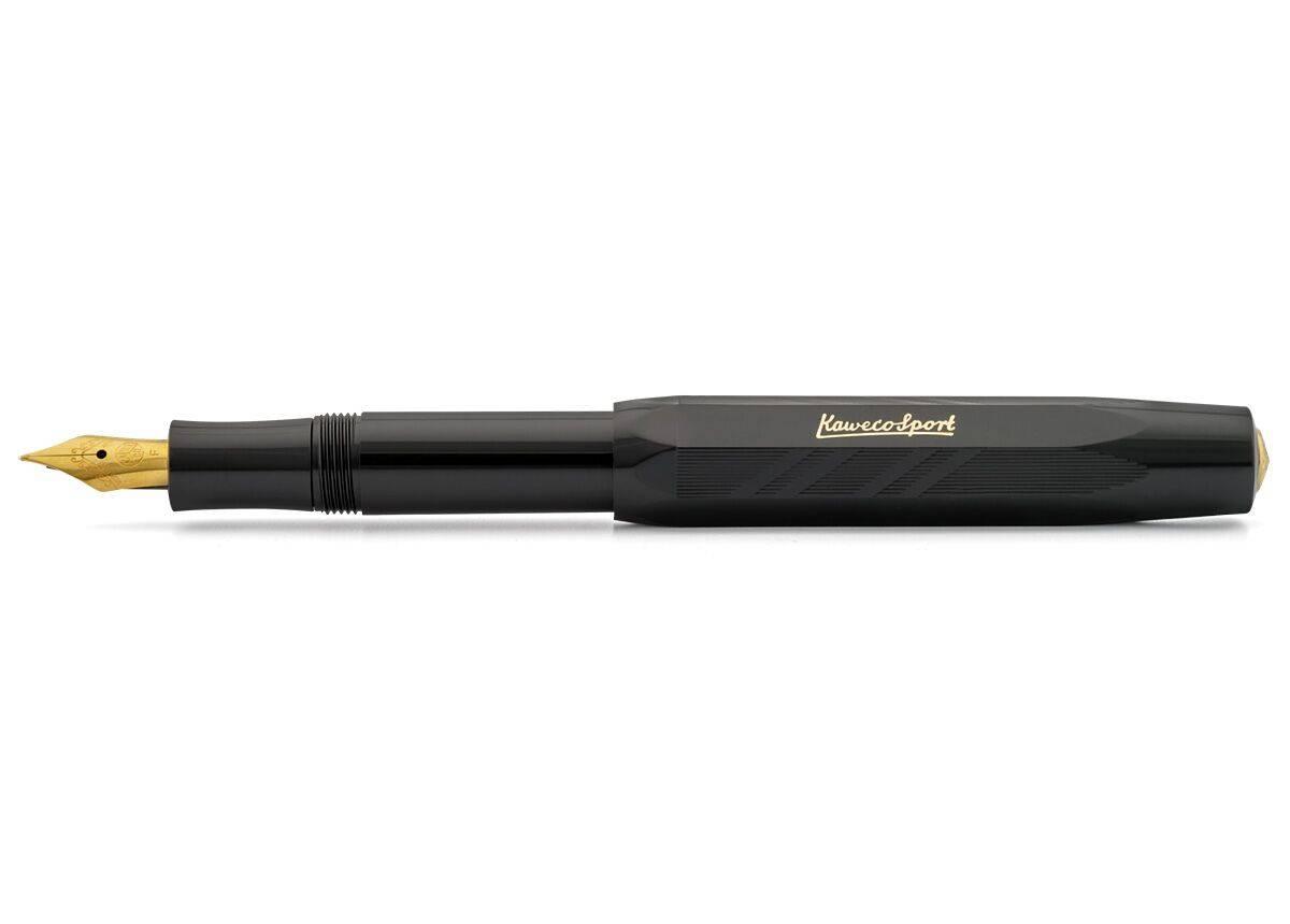 Купить Ручка перьевая Kaweco CLASSIC Sport Guilloche M 0, 9 мм, чернила синие, корпус черный, Германия