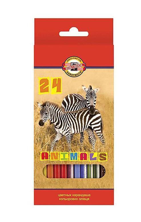 Купить Набор карандашей цветных Koh-I-Noor Животные 24 цветов, картон, KOH–I–NOOR, Чехия