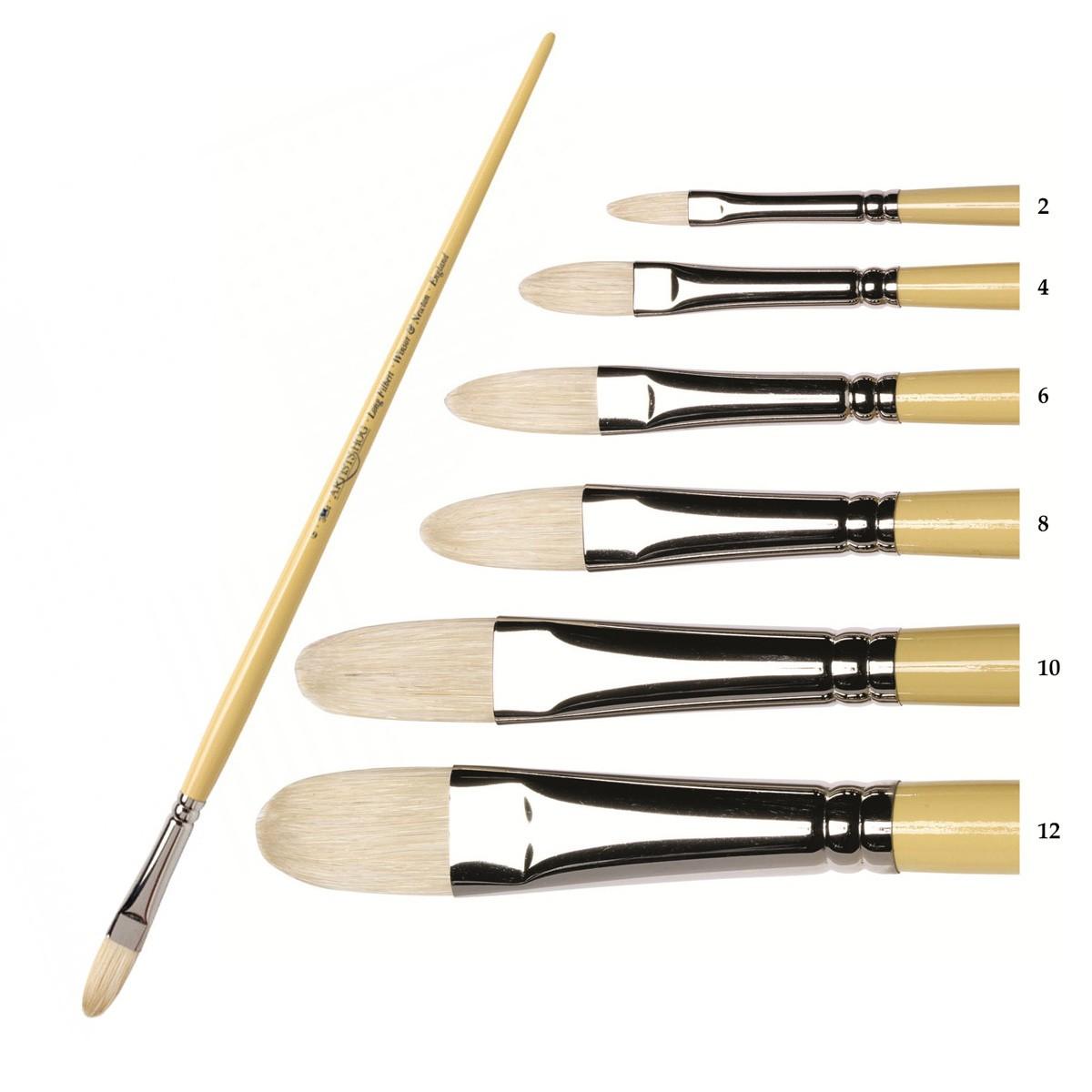 Купить Кисть щетина №6 овальная Winsor&Newton ARTISTS длинная ручка, Winsor & Newton