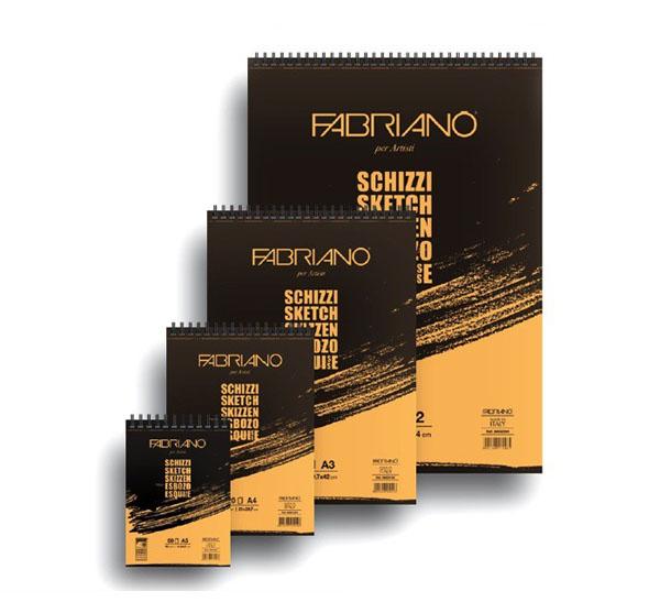 Купить Блокнот для эскизов на спирали Fabriano Schizzi А2 60 л 90 г, Италия