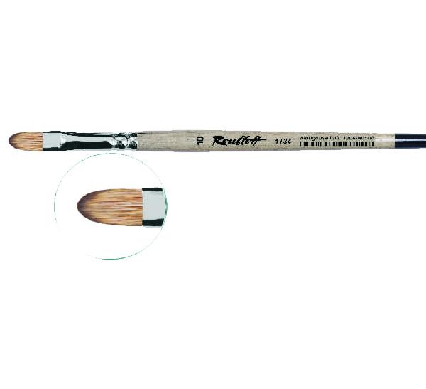 Купить Кисть синтетика мангуст имитация №12 овальная Roubloff 1Т34 короткая ручка, Россия