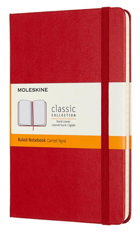 Записная книжка в линейку Moleskine Classic Medium 115х180 мм 240 стр. твердая обложка красная.