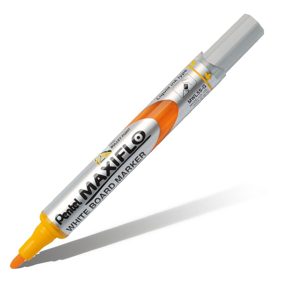Купить Маркер для досок с жидкими чернилами и кнопкой подкачки чернил Pentel Maxiflo 4 мм, желтый, Япония