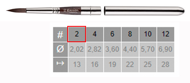 Купить Кисть синтетика №2 круглая Escoda Versatil 1548 ручка съемная металлическая, Испания