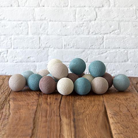 Купить Гирлянда из хлопковых шариков Lares & Penates морская соль 20, от батареек, Lares & Penates