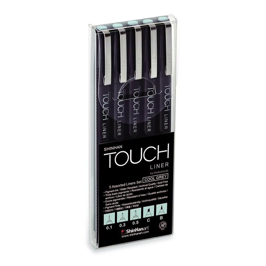 Купить Набор линеров Touch Liner 5 шт. 0, 1 мм-0, 5 мм C, B, цвет серый холодный, ShinHan Art (Touch), Южная Корея