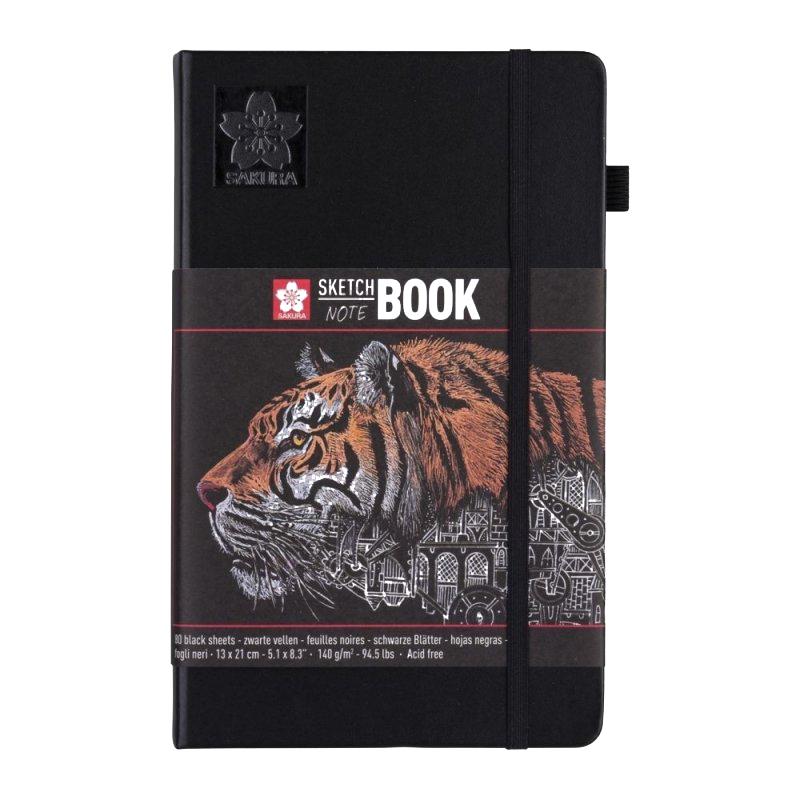 Купить Блокнот для зарисовок Sakura 13х21 см 80 л 140 г черная бумага, твердая обложкая черный, Япония