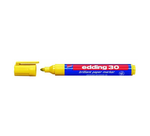 Купить Маркер на водной основе Edding 30 1, 5-3 мм с круглым наконечником, желтый, Германия