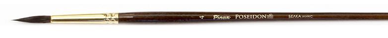 Купить Кисть белка микс №4 круглая Pinax Poseidon 801 длинная ручка, Китай