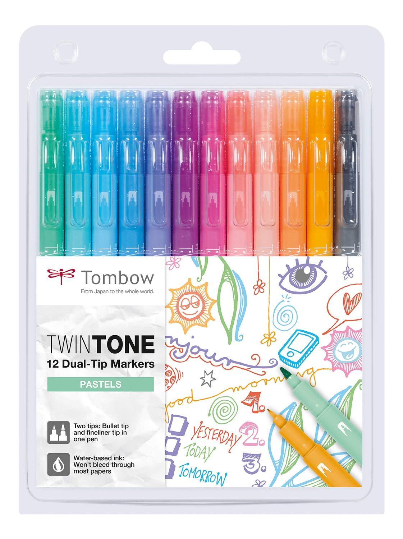 Купить Набор маркеров Tombow TwinTone Pastels 12 цв, пастельные тона, Япония